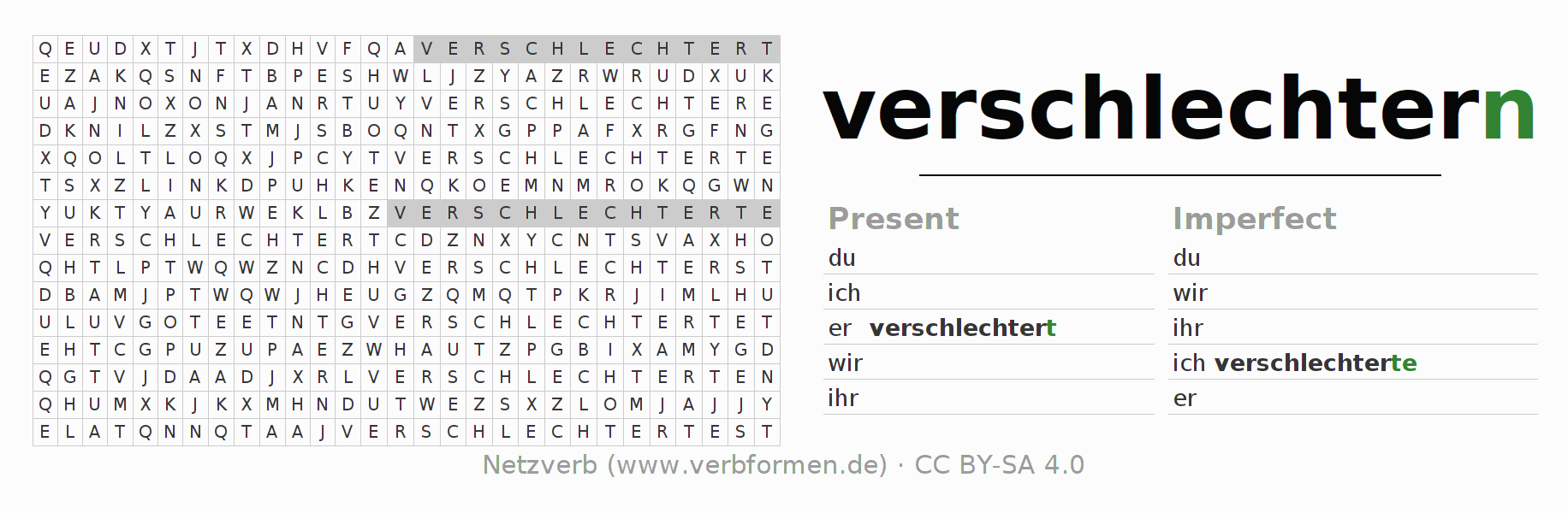 Word search puzzle for the conjugation of the verb verschlechtern
