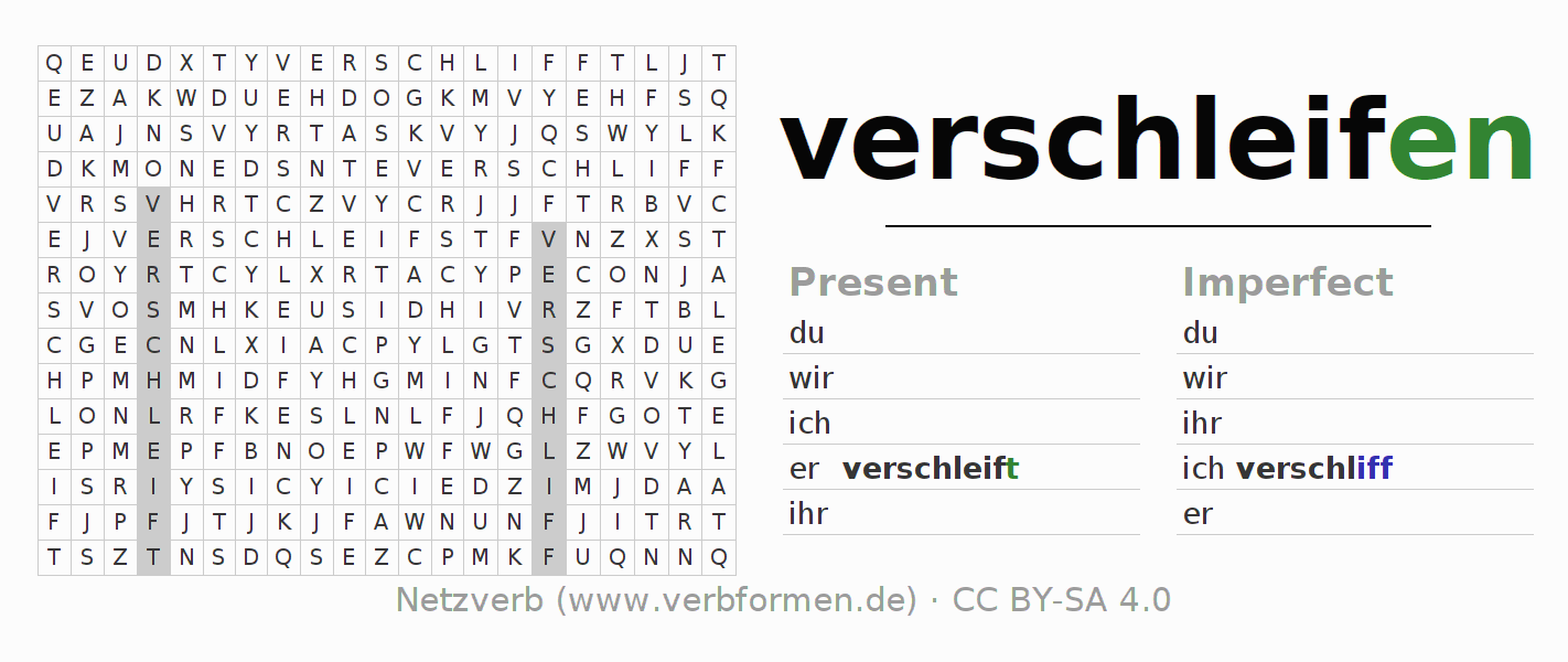 Word search puzzle for the conjugation of the verb verschleifen