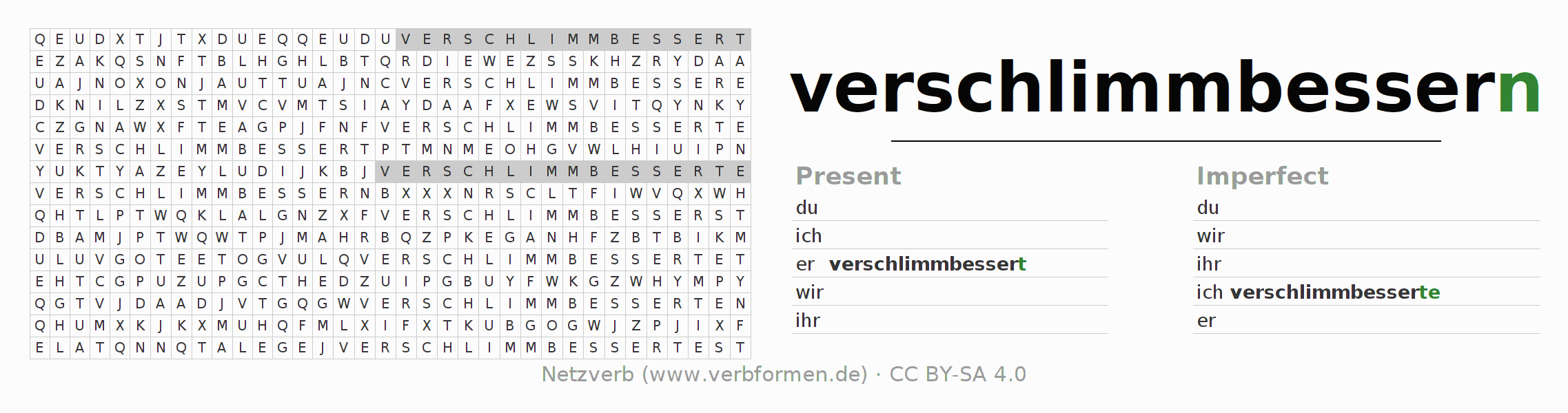 Word search puzzle for the conjugation of the verb verschlimmbessern
