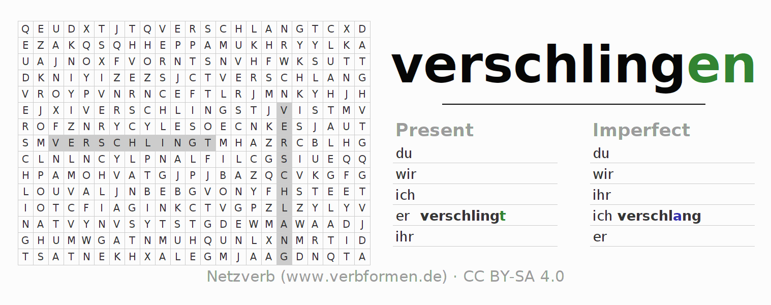Word search puzzle for the conjugation of the verb verschlingen