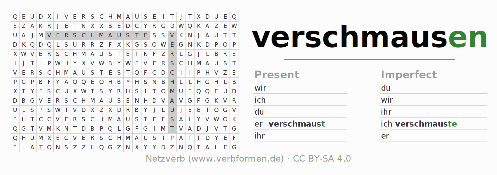 Word search puzzle for the conjugation of the verb verschmausen