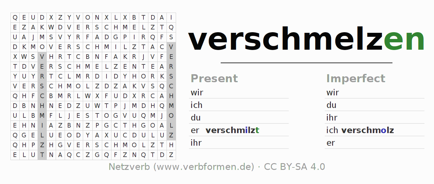 Word search puzzle for the conjugation of the verb verschmelzen (hat)