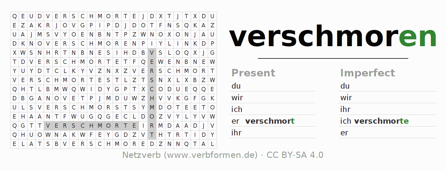 Word search puzzle for the conjugation of the verb verschmoren