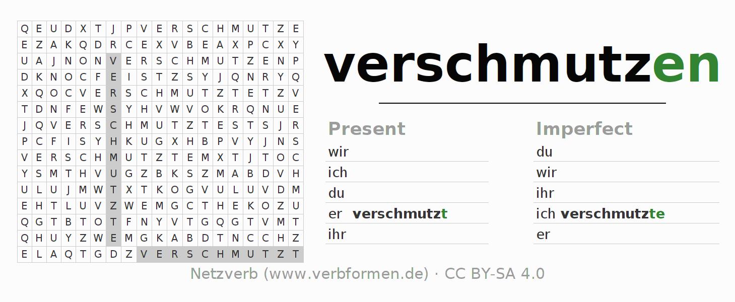 Word search puzzle for the conjugation of the verb verschmutzen (ist)
