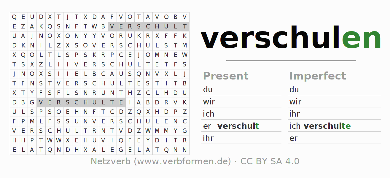 Word search puzzle for the conjugation of the verb verschulen