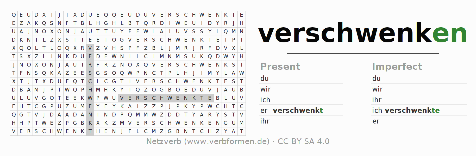 Word search puzzle for the conjugation of the verb verschwenken