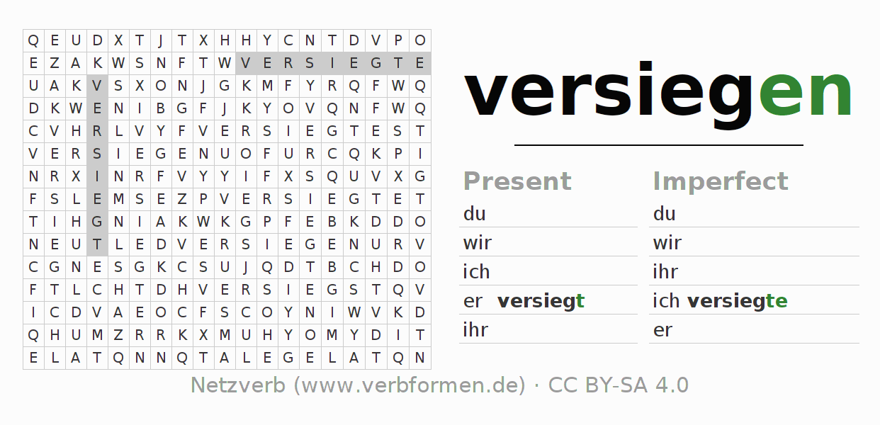 Word search puzzle for the conjugation of the verb versiegen