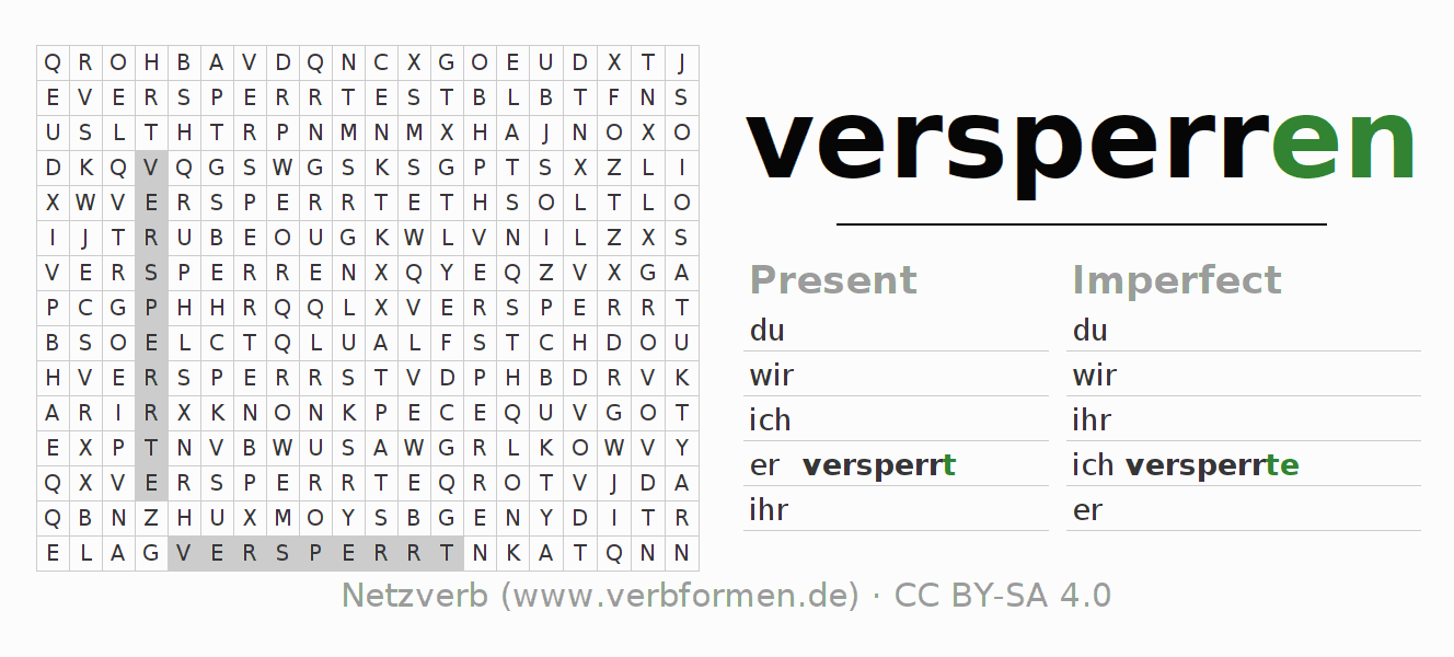 Word search puzzle for the conjugation of the verb versperren