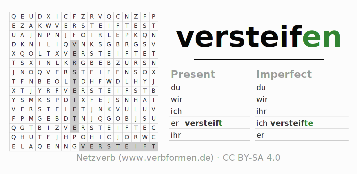 Word search puzzle for the conjugation of the verb versteifen (hat)