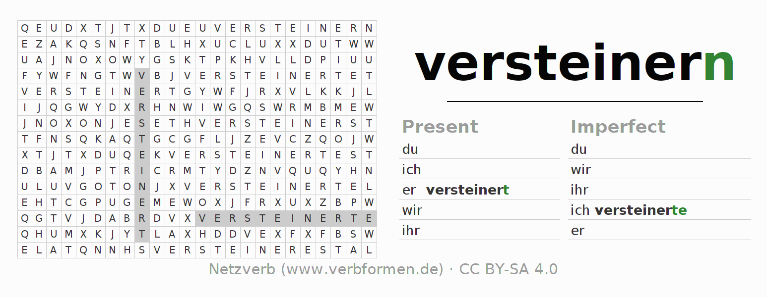 Word search puzzle for the conjugation of the verb versteinern (hat)