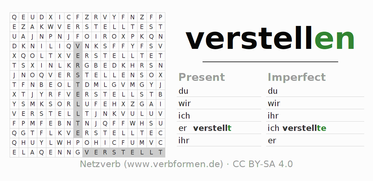 Word search puzzle for the conjugation of the verb verstellen