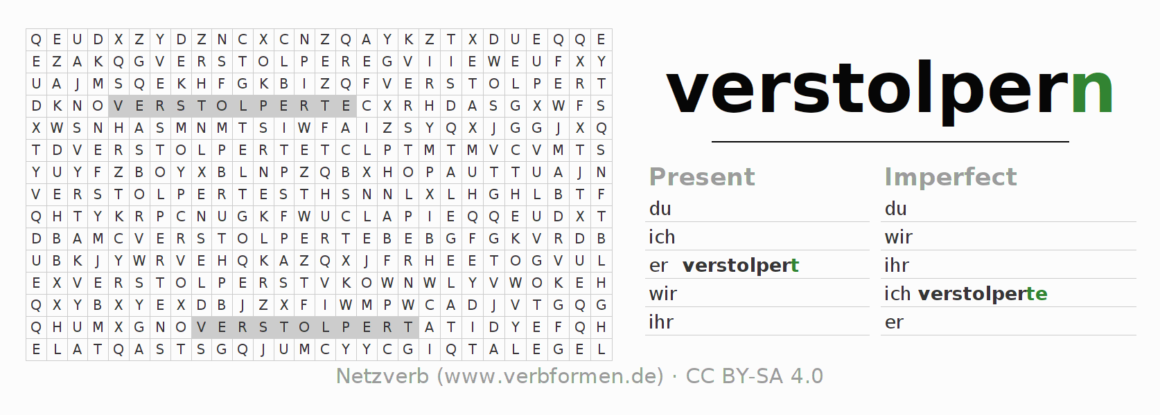 Word search puzzle for the conjugation of the verb verstolpern