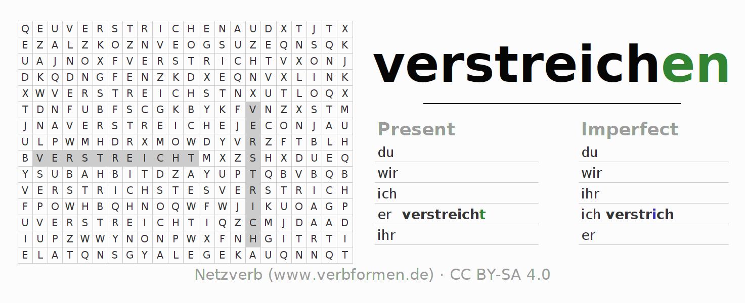 Word search puzzle for the conjugation of the verb verstreichen (ist)