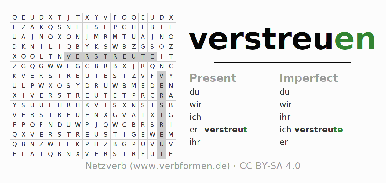 Word search puzzle for the conjugation of the verb verstreuen