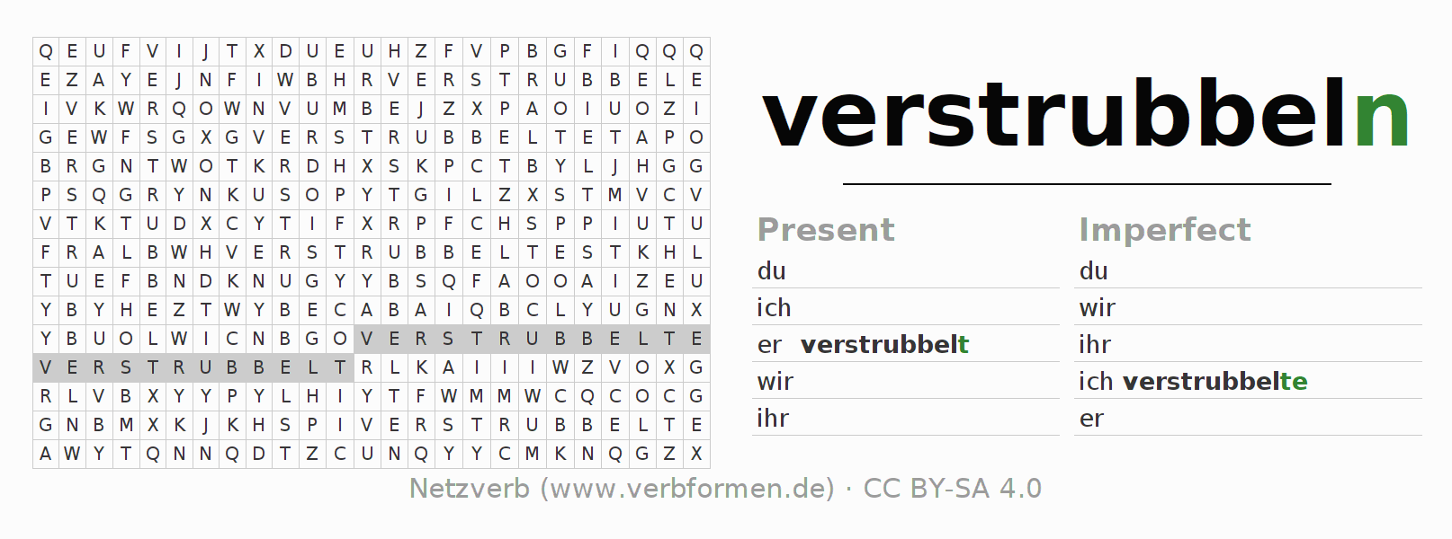 Word search puzzle for the conjugation of the verb verstrubbeln