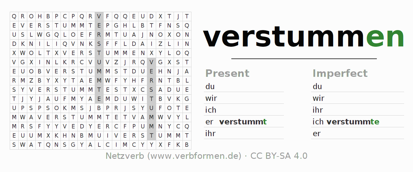 Word search puzzle for the conjugation of the verb verstummen