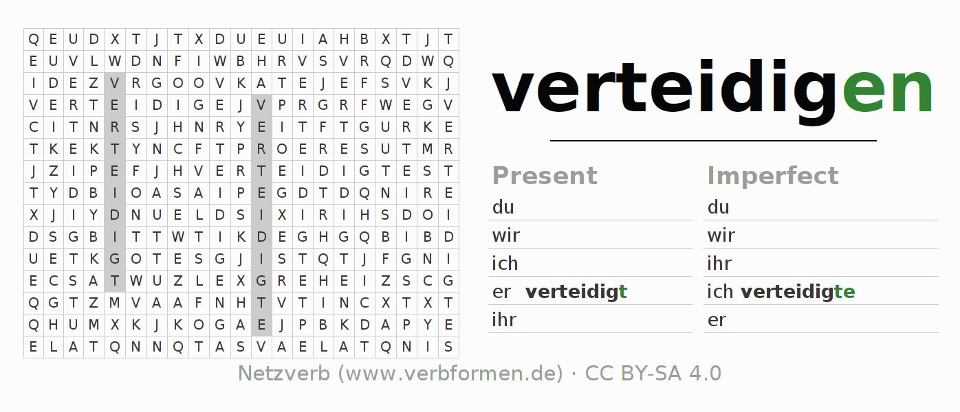 Word search puzzle for the conjugation of the verb verteidigen
