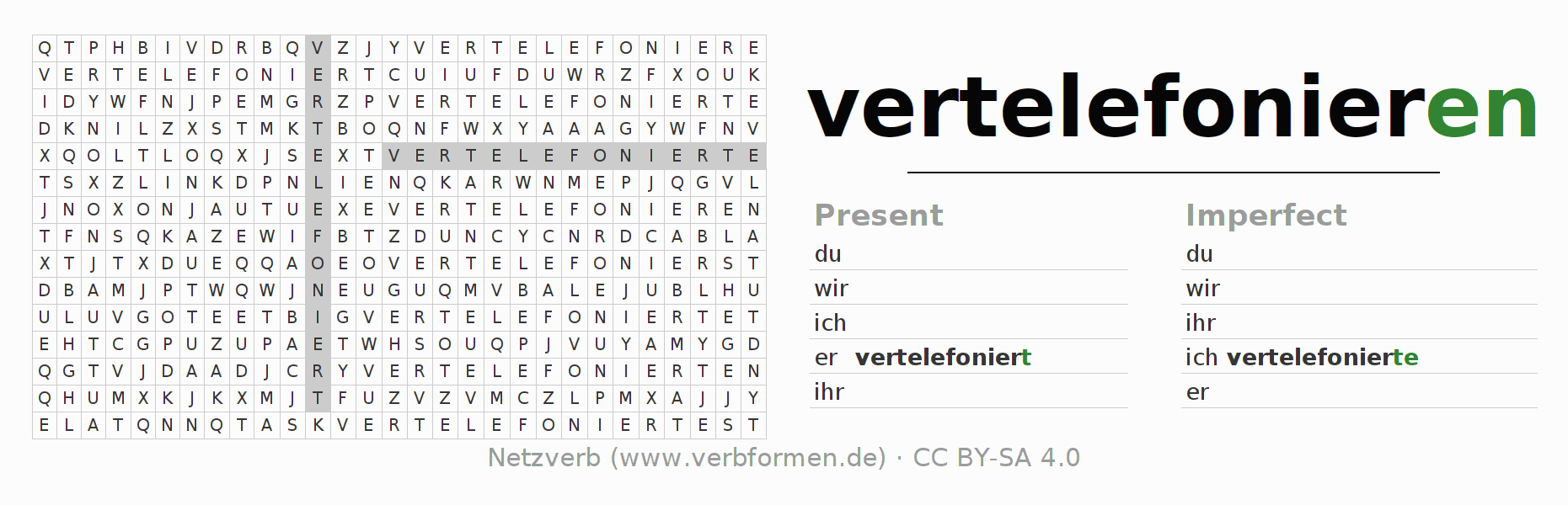 Word search puzzle for the conjugation of the verb vertelefonieren