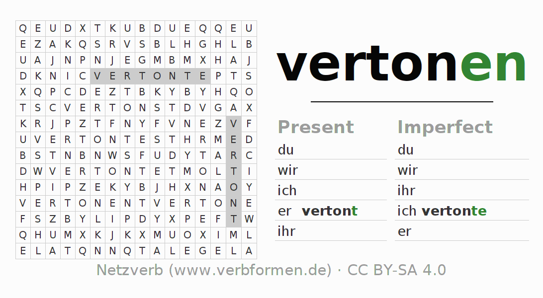 Word search puzzle for the conjugation of the verb vertonen