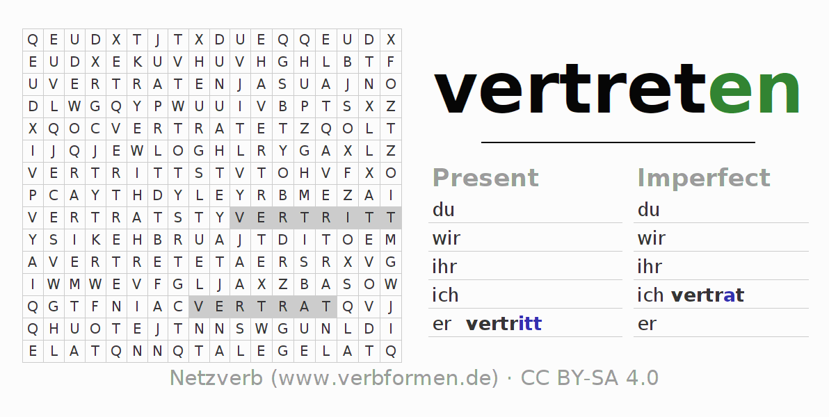 Word search puzzle for the conjugation of the verb vertreten (hat)