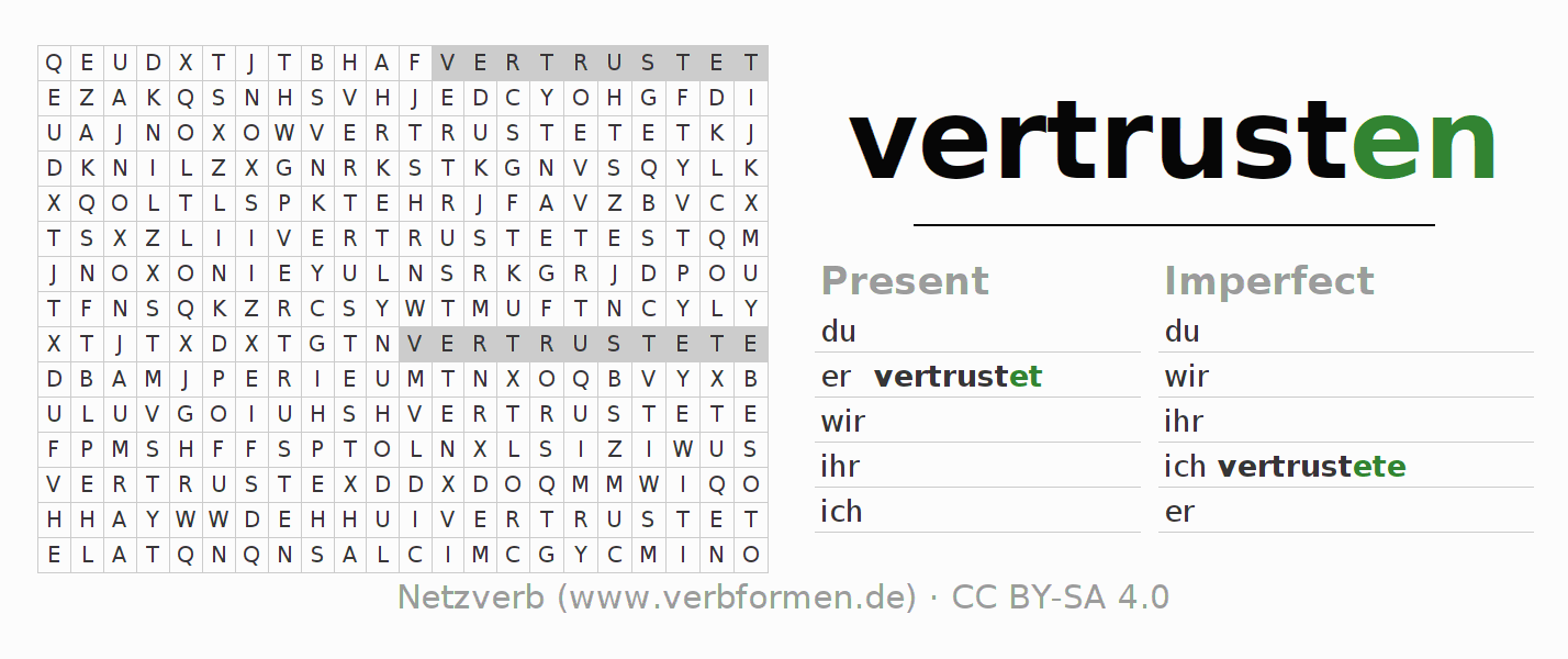 Word search puzzle for the conjugation of the verb vertrusten
