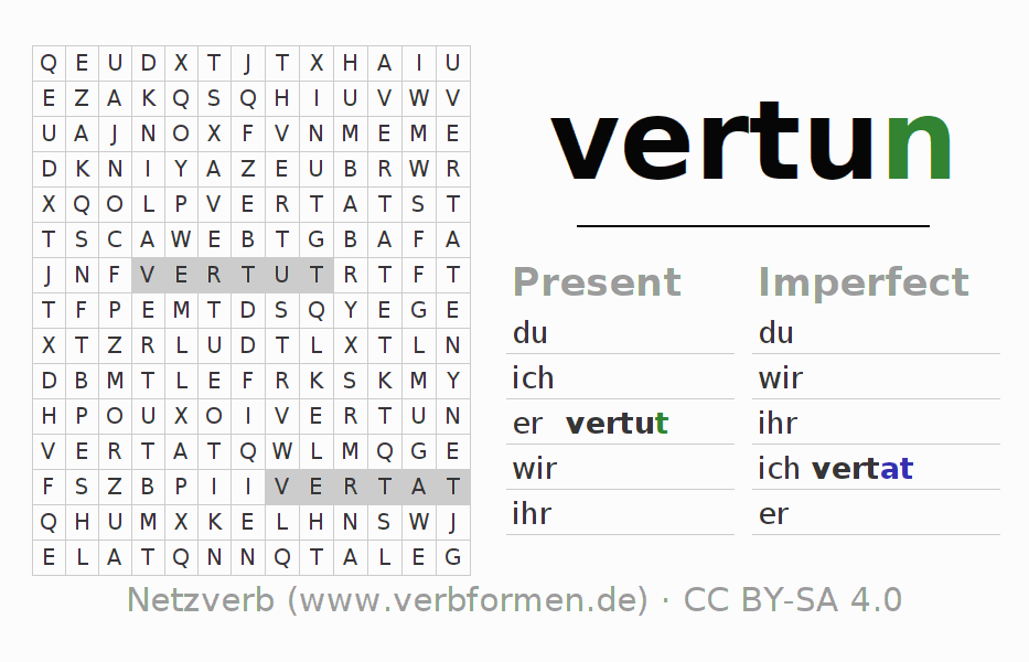 Word search puzzle for the conjugation of the verb vertun