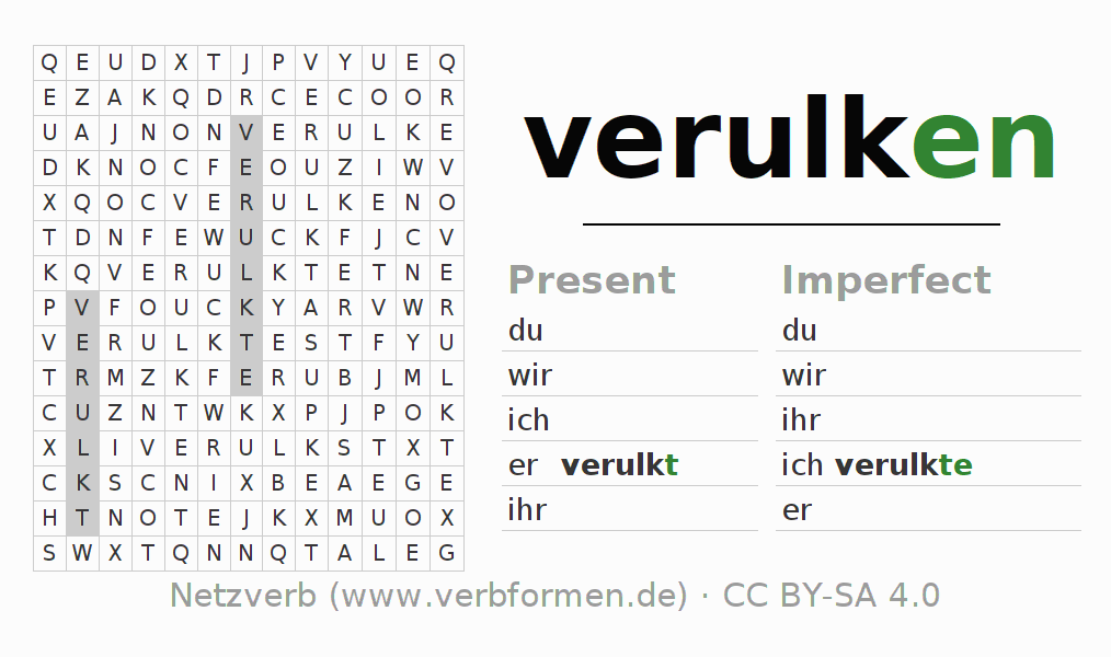 Word search puzzle for the conjugation of the verb verulken