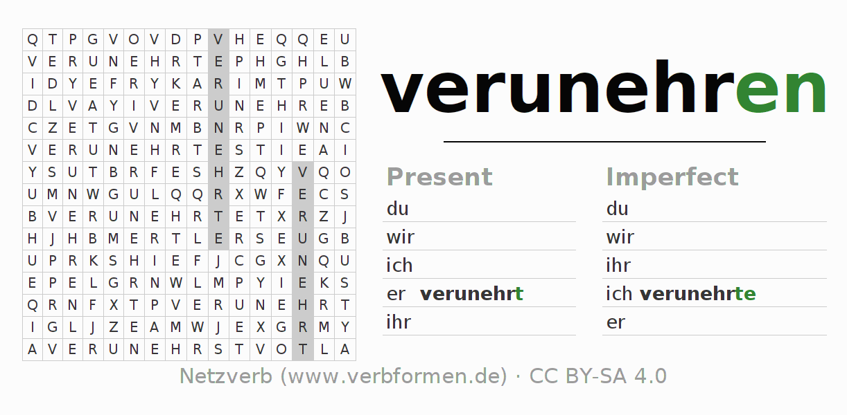Word search puzzle for the conjugation of the verb verunehren