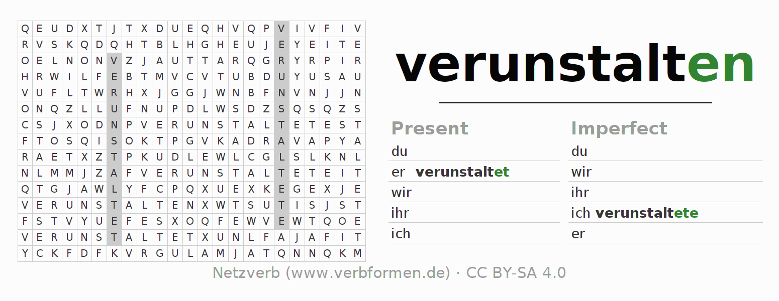 Word search puzzle for the conjugation of the verb verunstalten