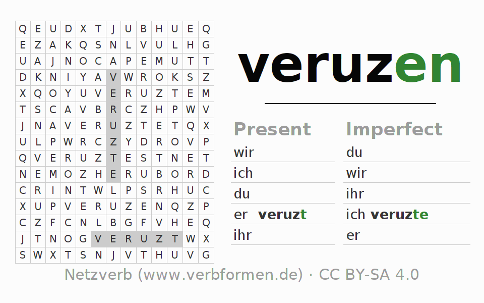 Word search puzzle for the conjugation of the verb veruzen