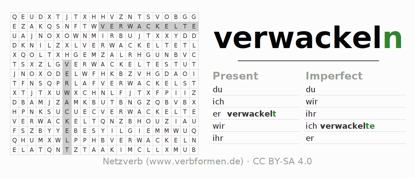 Word search puzzle for the conjugation of the verb verwackeln (hat)
