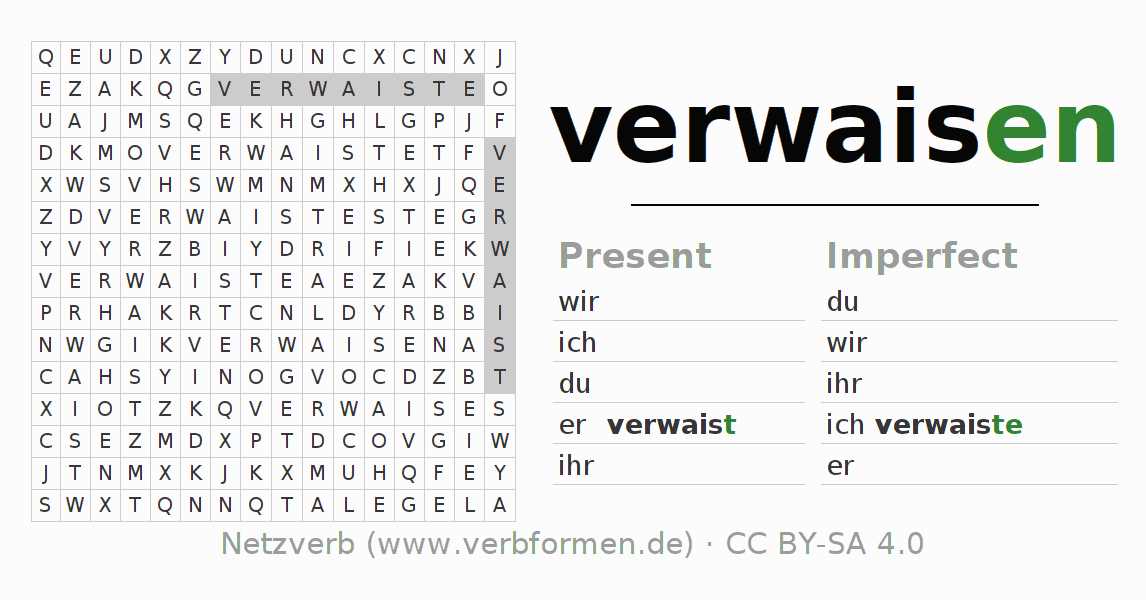 Word search puzzle for the conjugation of the verb verwaisen