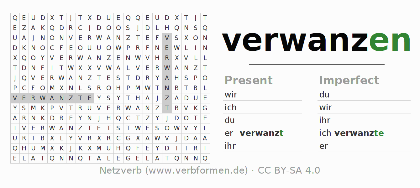 Word search puzzle for the conjugation of the verb verwanzen (hat)