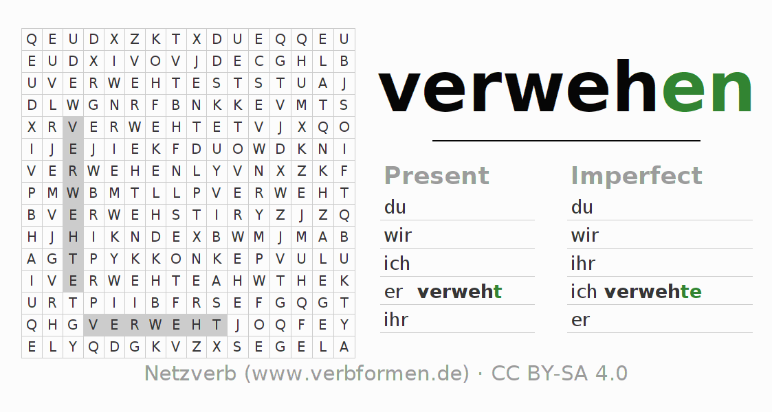 Word search puzzle for the conjugation of the verb verwehen (ist)