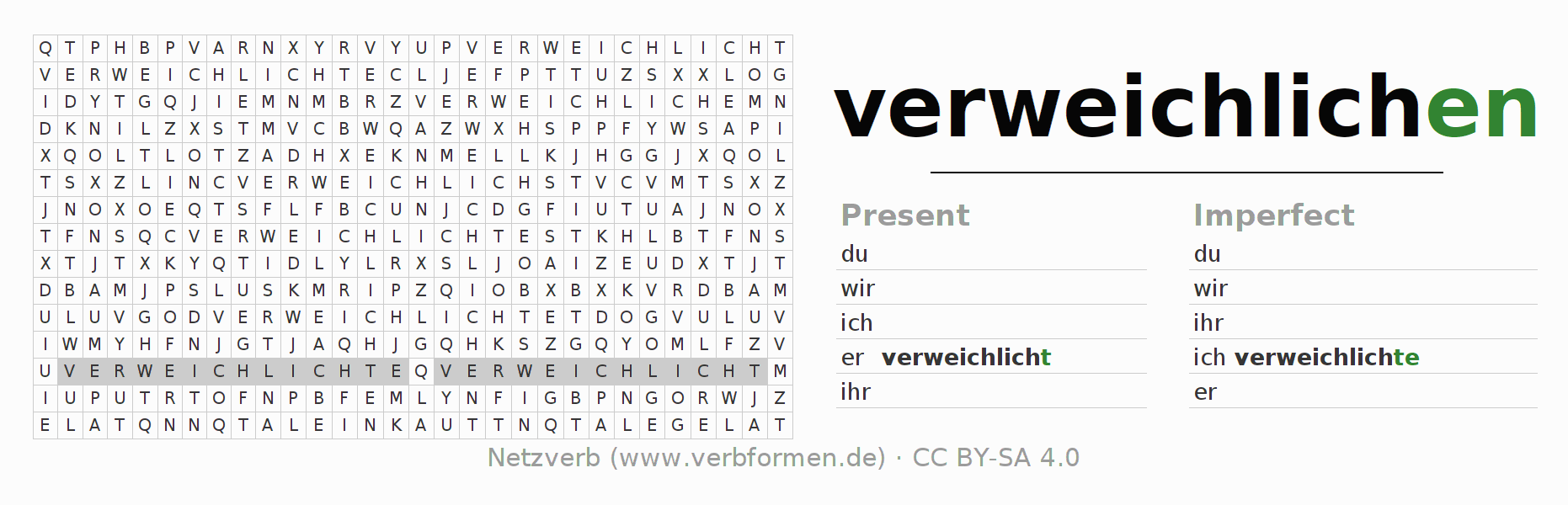 Word search puzzle for the conjugation of the verb verweichlichen (ist)