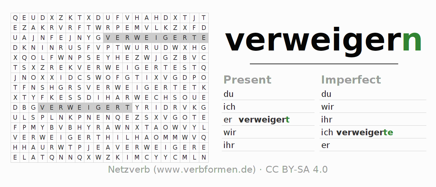 Word search puzzle for the conjugation of the verb verweigern