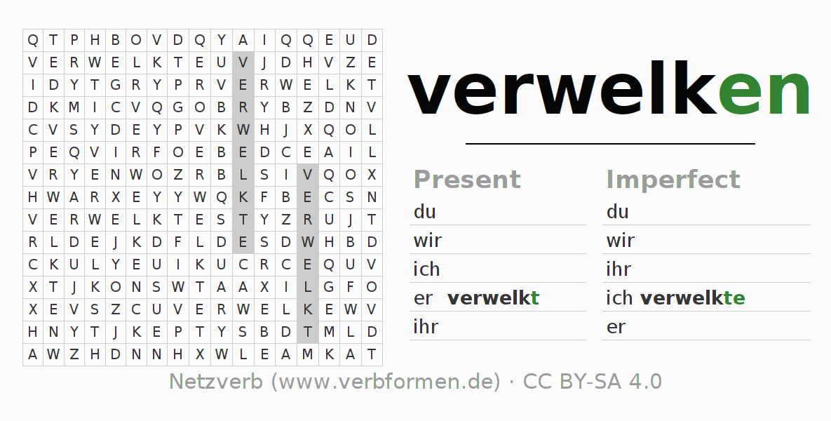 Word search puzzle for the conjugation of the verb verwelken