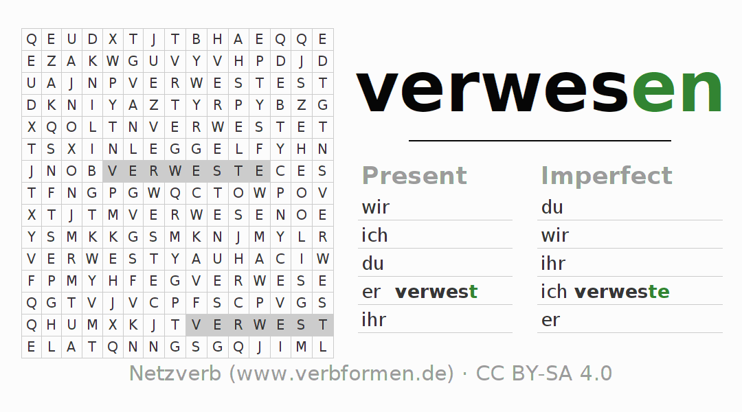 Word search puzzle for the conjugation of the verb verwesen (ist)