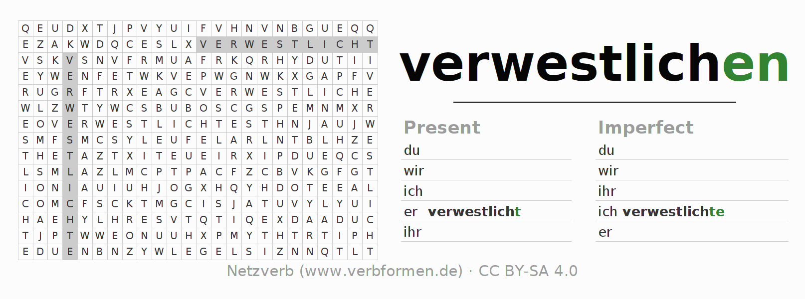 Word search puzzle for the conjugation of the verb verwestlichen