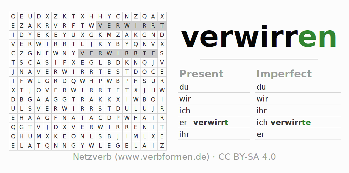 Word search puzzle for the conjugation of the verb verwirren