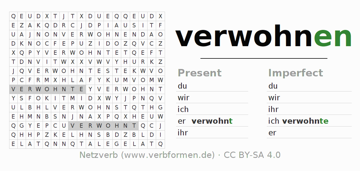 Word search puzzle for the conjugation of the verb verwohnen