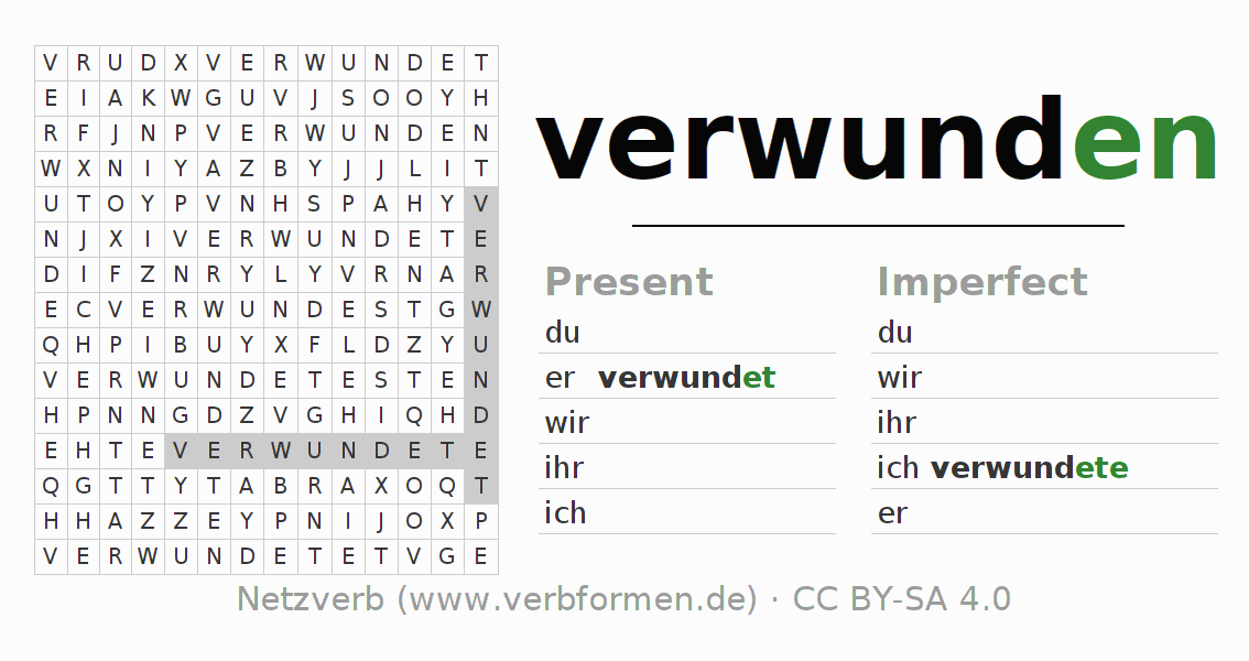 Word search puzzle for the conjugation of the verb verwunden