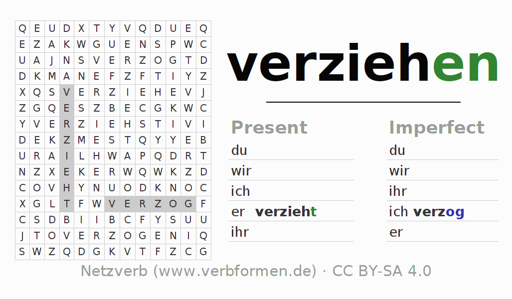 Word search puzzle for the conjugation of the verb verziehen (ist)