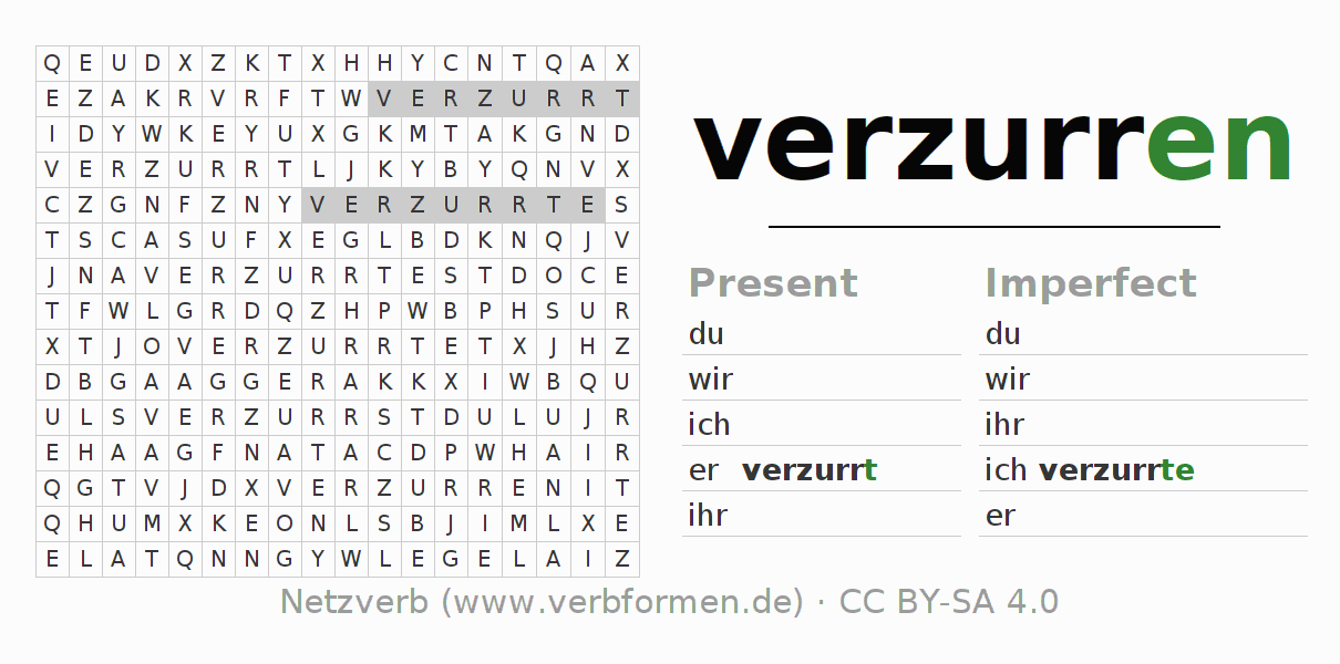 Word search puzzle for the conjugation of the verb verzurren