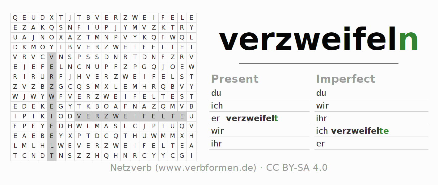 Word search puzzle for the conjugation of the verb verzweifeln (hat)