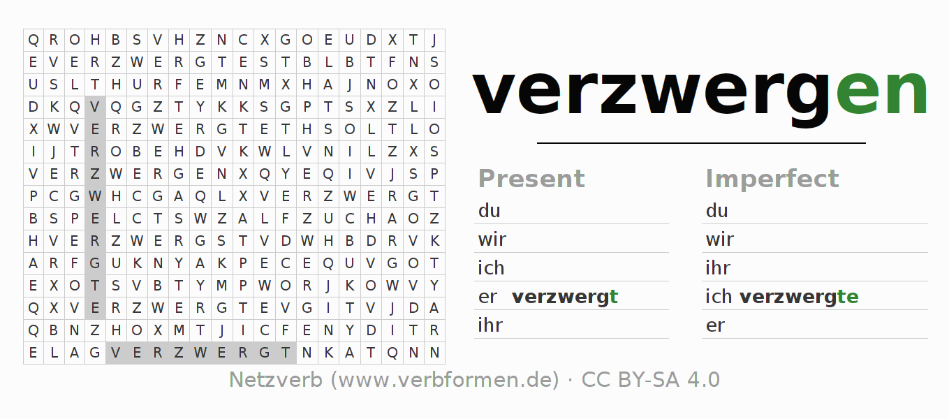 Word search puzzle for the conjugation of the verb verzwergen (ist)