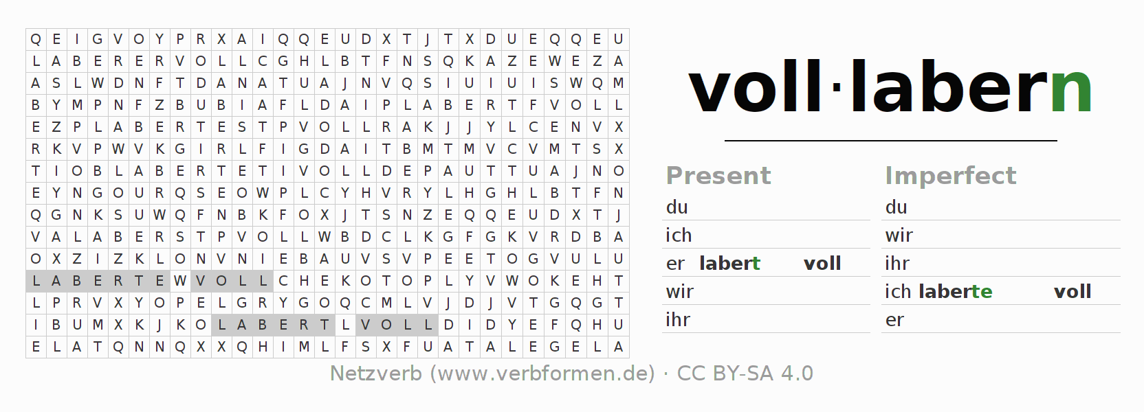 Word search puzzle for the conjugation of the verb volllabern
