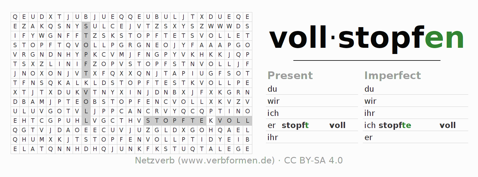 Word search puzzle for the conjugation of the verb vollstopfen