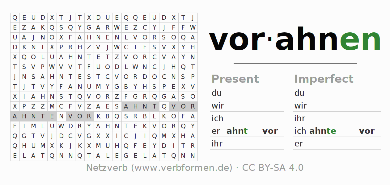 Word search puzzle for the conjugation of the verb vorahnen