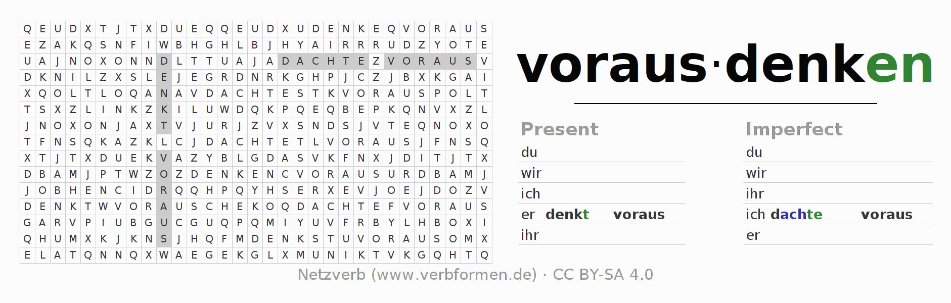 Word search | Verb vorausdenken | Puzzle for the conjugation